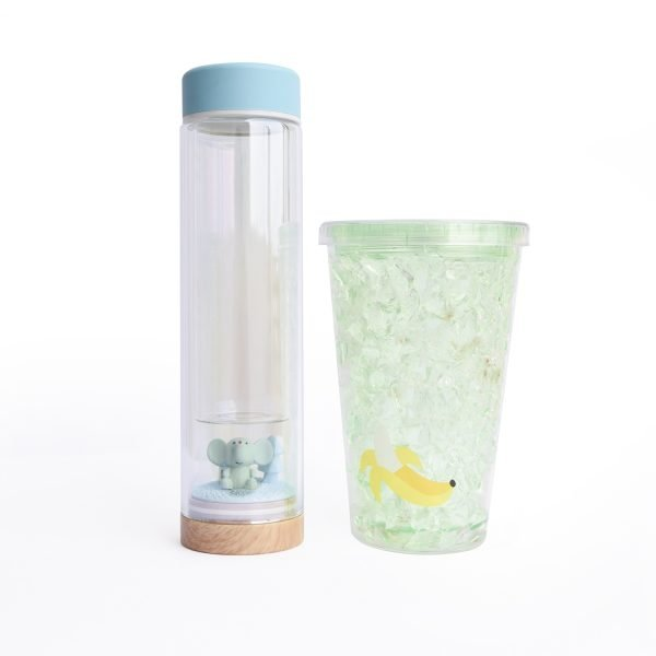 glass cup with ice cup